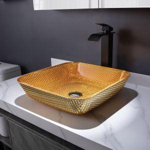 洗面ボール 手洗鉢 洗面器 ガラス製 ダイカスト 排水金具付 オシャレ 角型 40.5cm