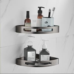 三角形浴室棚 シェルフ 化粧棚 浴室収納 バスアクセサリー ステンレス鋼 ガングレー