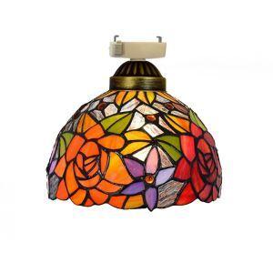 シーリングライト ステンドグラスランプ 玄関照明 ダイニング照明 簡単取付 D20cm 1灯 花柄