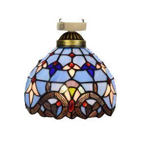 シーリングライト ステンドグラスランプ 玄関照明 ダイニング照明 簡単取付 D20cm 1灯 青色