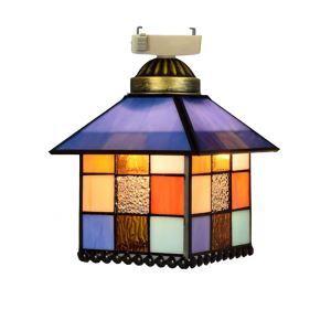 シーリングライト ステンドグラスランプ 玄関照明 ダイニング照明 簡単取付 D15cm 1灯 ハウス型