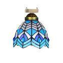 シーリングライト ステンドグラスランプ 玄関照明 ダイニング照明 簡単取付 D15cm 1灯 青白色