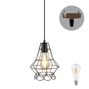 ペンダントライト ダイニング照明 玄関照明 店舗照明 簡単取付 鳥カゴ型 LED電球付 1灯