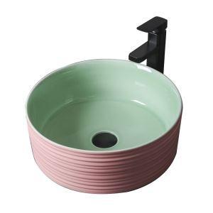 手洗い鉢 洗面ボウル 手洗器 洗面ボール 陶器 丸型 置き型 排水栓&排水トラップ付 41cm