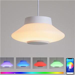 LEDペンダントライト リビング照明 リモコン付 タイマー付 APP制御 Bluetooth接続 無段階調光調色 8畳 32W D36cm