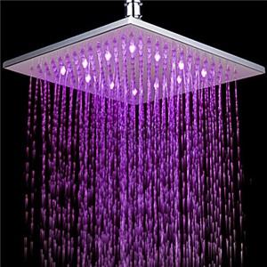 7色LEDヘッドシャワー レインシャワー水栓 25cm