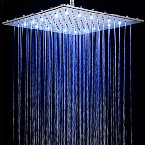 3色LEDヘッドシャワー レインシャワー水栓 40*40cm