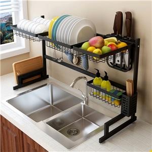 キッチンラック キッチン収納 水切りラック シンク周り 2段式 ステンレス製 伸縮可能