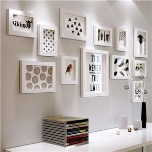 壁掛けフォトフレーム 写真立てセット 額縁 フォトデコレーション ソリッドウッド 12個セット 2421