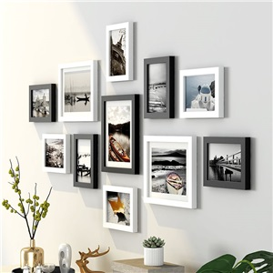 壁掛けフォトフレーム 写真立てセット 額縁 フォトデコレーション ソリッドウッド 11個セット ZPQ11