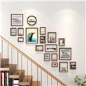 フォトフレーム 写真立て 壁掛け・卓上両用額縁 フォトデコレーション 木製 18個セット
