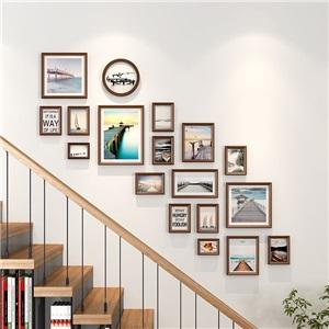 壁掛けフォトフレーム 写真立てセット 額縁 フォトデコレーション ソリッドウッド 18個セット ZPQ19LT1