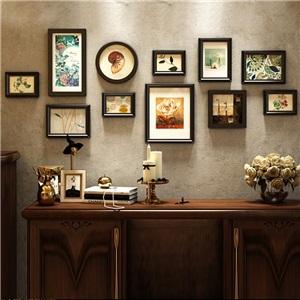 壁掛けフォトフレーム 写真立てセット 額縁 フォトデコレーション ソリッドウッド 11個セット 9042