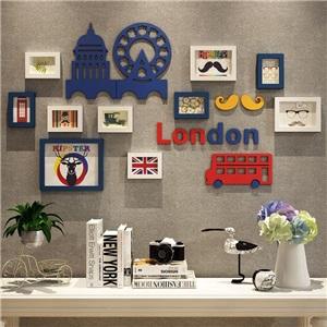 壁掛けフォトフレーム 写真立てセット 額縁 フォトデコレーション ソリッドウッド 2188