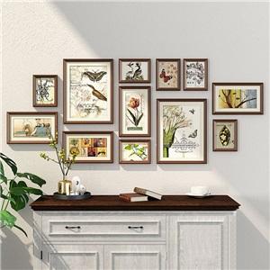 壁掛けフォトフレーム 写真立てセット 額縁 フォトデコレーション ソリッドウッド 12個セット ZPQ12
