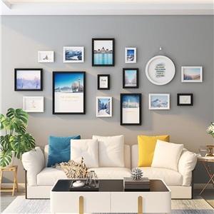 壁掛けフォトフレーム 写真立てセット 額縁 フォトデコレーション ソリッドウッド 15個セット DX913
