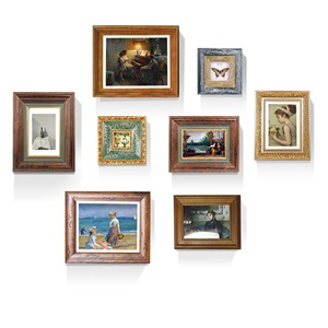 壁掛けフォトフレーム 写真立てセット 額縁 フォトデコレーション ソリッドウッド FG01