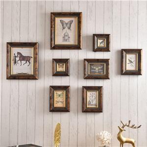 壁掛けフォトフレーム 写真立てセット 額縁 フォトデコレーション ソリッドウッド 8個セット BRESH