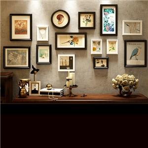 壁掛けフォトフレーム 写真立てセット 額縁 フォトデコレーション ソリッドウッド 14個セット 9044