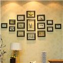 フォトフレーム 写真立て 壁掛け・卓上両用額縁 フォトデコレーション 木製 15個セット