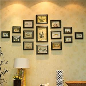 壁掛けフォトフレーム 写真立てセット 額縁 フォトデコレーション ソリッドウッド 15個セット