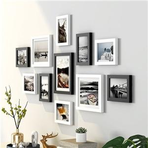 壁掛けフォトフレーム 写真立てセット 額縁 フォトデコレーション ソリッドウッド ZPQ9B