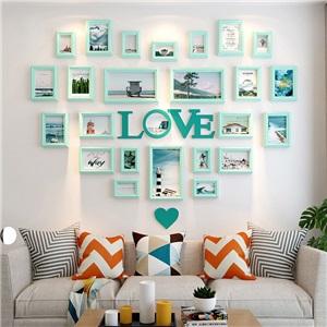 壁掛けフォトフレーム 写真立てセット 額縁 フォトデコレーション ソリッドウッド 24個セット OMG4242