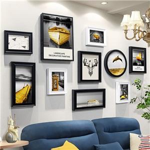壁掛けフォトフレーム 写真立てセット 額縁 フォトデコレーション ソリッドウッド 10個セット TS1644