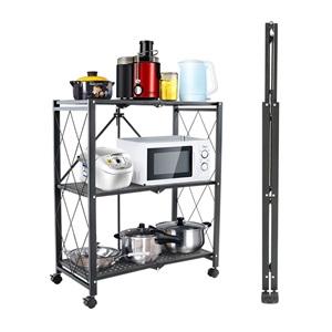 キッチンラック キッチン収納 キッチンワゴン 3段式 ステンレス製 折り畳み 省スペース