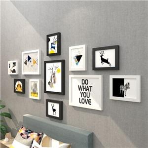 壁掛けフォトフレーム 写真立てセット 額縁 フォトデコレーション ソリッドウッド 11個セット NJ8611