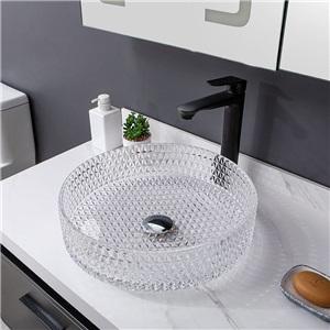 洗面ボール 手洗鉢 洗面器 ガラス製 ダイカスト 排水金具付 オシャレ 透明 丸型 40cm