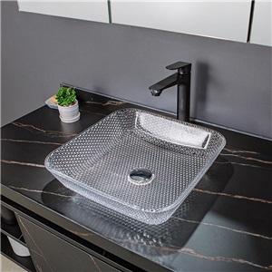 洗面ボール 手洗鉢 洗面器 ガラス製 ダイカスト 排水金具付 オシャレ 透明 角型 40.5cm