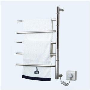 壁掛けタオルウォーマー バスヒーター タオルハンガー+簡易乾燥 ステンレス鋼 180°回転可能 50W