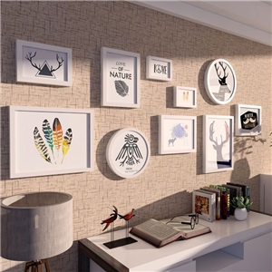 壁掛けフォトフレーム 写真立てセット 額縁 フォトデコレーション ソリッドウッド 10個セット