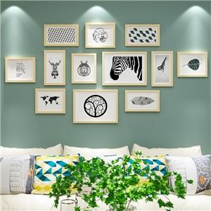 壁掛けフォトフレーム 写真立てセット 額縁 フォトデコレーション ソリッドウッド 12個セット
