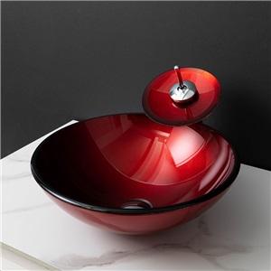 洗面ボウル&蛇口セット 手洗い鉢 洗面器 強化ガラス製 排水金具付 オシャレ 赤色 CBLY6439