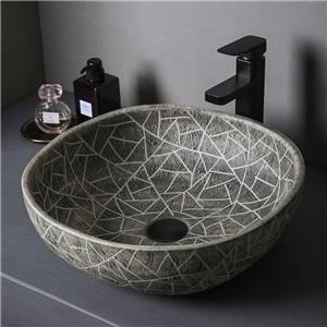 手洗い鉢 洗面ボウル 手洗器 洗面ボール 陶器 置き型 排水栓&排水トラップ付 44cm