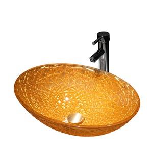 洗面ボール 手洗鉢 洗面器 ガラス製 ダイカスト 排水金具付 オシャレ 楕円型 50cm