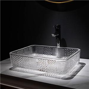 洗面ボール 手洗鉢 洗面器 ガラス製 ダイカスト 排水金具付 オシャレ 長方形 46cm