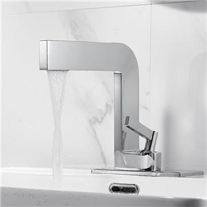 洗面蛇口 バス水栓 冷熱混合水栓 手洗器蛇口 立水栓 4色 7字型 穴カバー付き