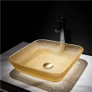 洗面ボール 手洗鉢 洗面器 ガラス製 ダイカスト 排水金具付 オシャレ 正方形 40.5cm