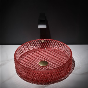 洗面ボール 手洗鉢 洗面器 ガラス製 ダイカスト 排水金具付 オシャレ 丸型 40cm