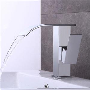 洗面蛇口 バス水栓 冷熱混合栓 水道蛇口 立水栓 滝状吐水式 クロム H17.5cm