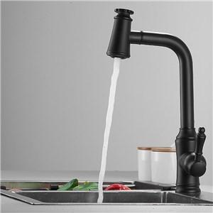 キッチン蛇口 引出し式水栓 台所水栓 冷熱混合水栓 水道蛇口 整流&シャワー吐水式 黒色