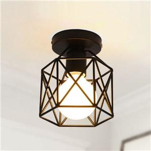 シーリングライト 玄関照明 寝室照明 子供屋照明 鳥かご型 黒色 1灯