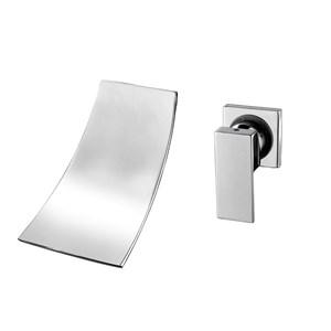 壁付水栓 洗面蛇口 バス水栓 冷熱混合栓 浴槽水栓 水道蛇口 滝状吐水口 クロム