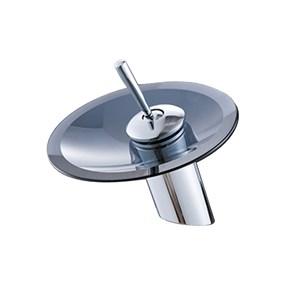 洗面蛇口 バス水栓 冷熱混合栓 水道蛇口 立水栓 滝状吐水式 ガラス クロム