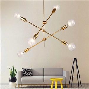シャンデリア リビング照明 ダイニング照明 寝室照明 北欧風 魔豆型 金色 6灯