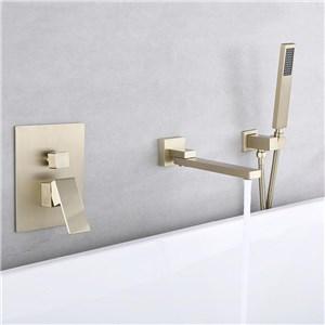 浴槽水栓 壁付蛇口 シャワー混合栓 浴室水栓 ハンドシャワー付 水道蛇口 吐水口回転可 3点 ヘアラインゴールド