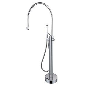 床置きシャワー水栓 床立ち上げ式浴槽蛇口 冷熱混合栓 雫型 ハンドシャワー付き 3色